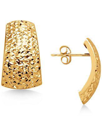 70931ad8d4fd Italian Gold Crystal-Cut Domed Hoop Earrings in 14k Gold Jewelry   Watches  - Earrings - Macy s