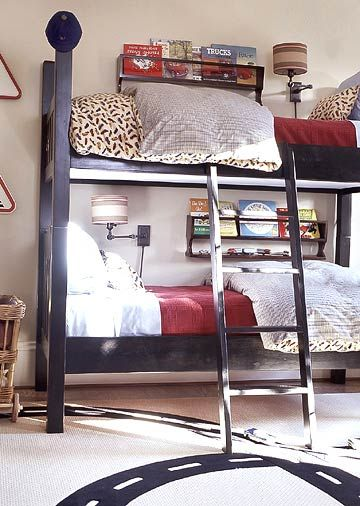 I love the idea of the book shelf on the wall and lamps with the bunk beds.  This is such a great idea and would be neat even with a single bed :)