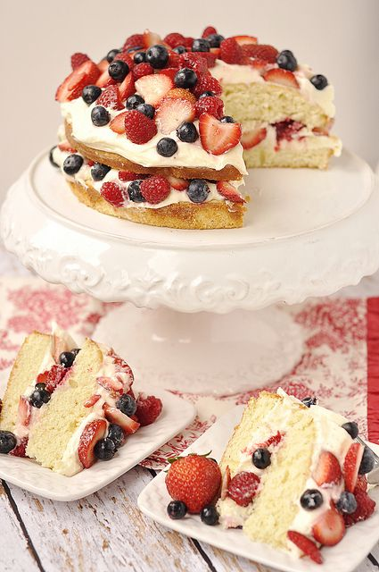Berry Almond Butter Cake with Lemon Curd Cream Cheese Frosting