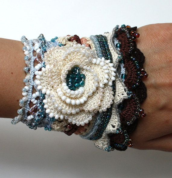 Blume häkeln häkeln Manschette Armband häkeln Perlen von stasiSpark