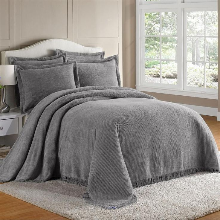 Chenille Bedspreads In Gray Details About King 100