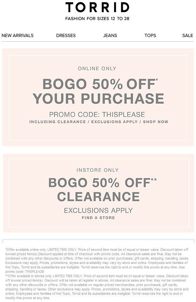 graphic relating to Torrid Printable Coupons titled Pinned August 30th Instant clearance product or service 50 off at Torrid or