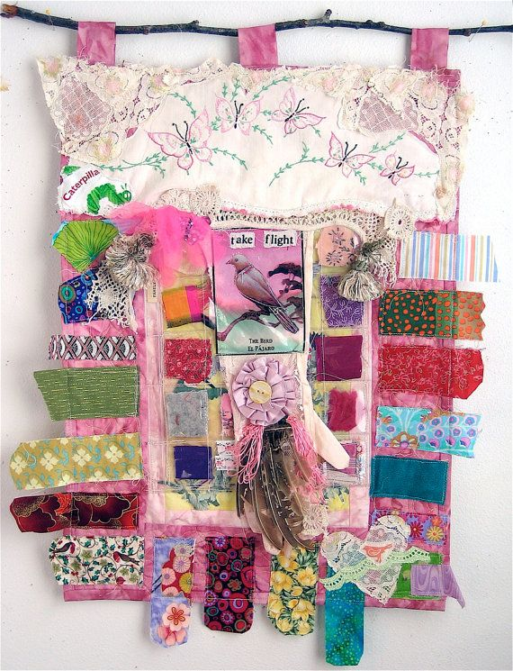 Altered Found Objects & Fabric Wall Quilt  BIRD ART by mybonny, $75.00