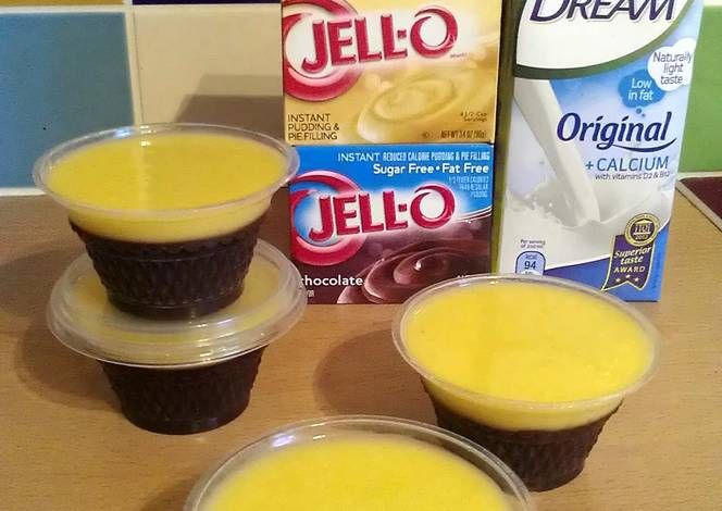 Instructions for using rice milk or almond milk with instant pudding mix.