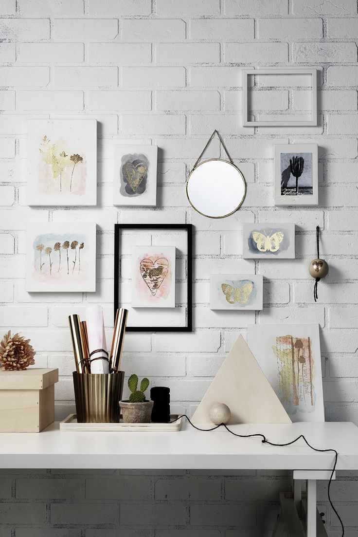 Make your art shine with gold www.pandurohobby.com Wall art by Panduro #decoration #DIY #watercoloring #watercolor #studio #frame #art #panduro