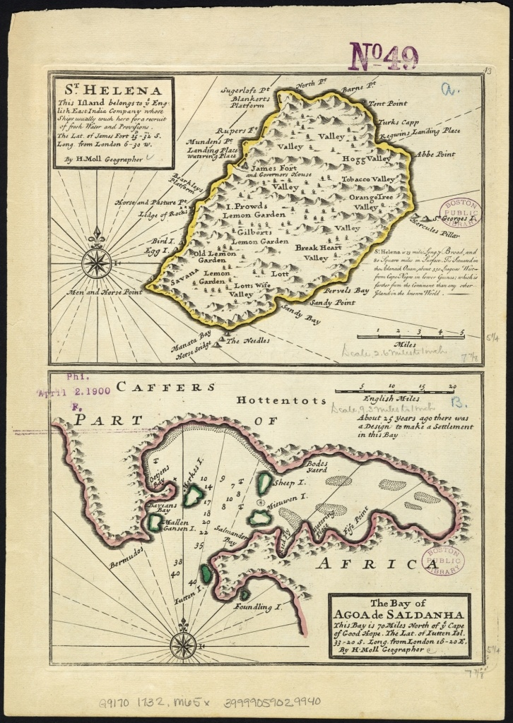 Details  Map title: St. Helena, this island belongs to ye English east India Company whose ships usually touch here for a recruit of fresh water and provisions ... ; The bay of Agao de Saldanha, this bay is 70 miles north of ye Cape of Good Hope ...  Author: Moll, Herman.  Publisher: Bowles, Thomas.  Date: 1732.  Location: Saint Helena, Saldanha Bay (South Africa).  Subject: 18th Century