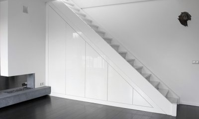Smart staircase storage, high gloss paint finish