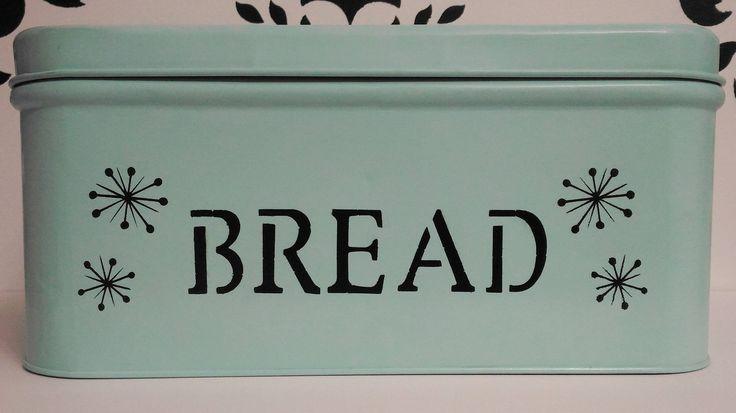 Aqua Sky Blue Breadbox with Black Retro Starburst, Empeco Bread Box, National Can Company-New York , Retro 50's Kitchen by Rayng2011 on Etsy https://www.etsy.com/listing/482382477/aqua-sky-blue-breadbox-with-black-retro