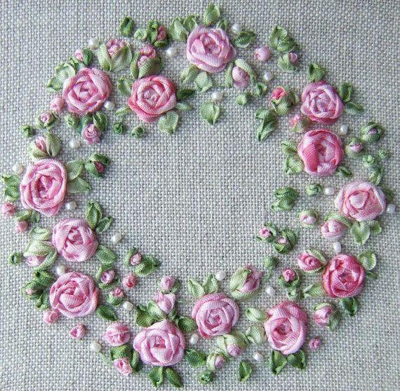 PDF PP13 Roses and Pearls Pincushion Kit pink by lornabateman22
