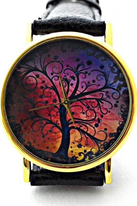 Tree leather wrist watches, woman man lady unisex watch, genuine leather handmade unique watch #2