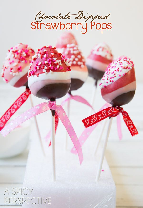 Chocolate Dipped Strawberry Pops #ValentinesDay