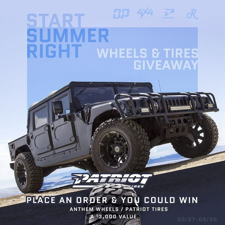 Who wants to start their weekend off right?? Get your entries in to win #mchummer or $$50000$$ and also get entered to win a set of Patriot tires and Anthem wheels :boom:This weekend only:boom: by modify