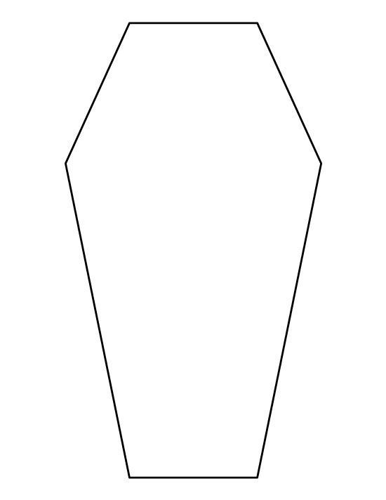 Coffin pattern use the printable outline for crafts for Coffin cake template