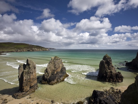 Sea Stacks on Garry Beach, Tolsta, Isle of Lewis, Outer Hebrides, Scotland, United Kingdom, Europe