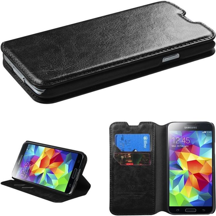 Book-Style Flip Cover Wallet Case for Samsung Galaxy S5 - Black