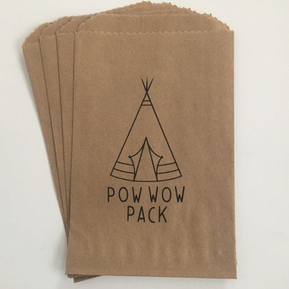Tribal Teepee Pow Wow Pack Birthday 4x6 Favor Bags Set of 25