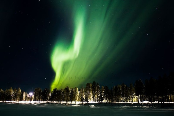 Northern Lights in Hossa, Kainuu. It is possible to see northern lights round the year, but it is more likely to see it in the winter.