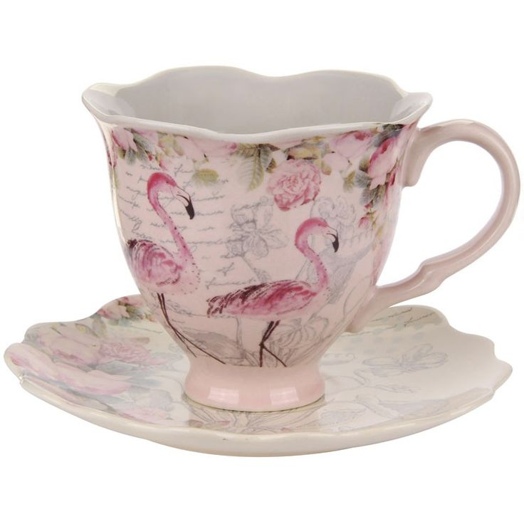 Aviary Flamingo Teacup & Saucer...leaning on the tasteful side ;)