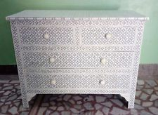 bone inlay geometric chest of drawers