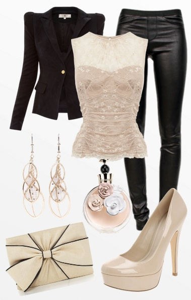 black pants, jacket, beige lace shirt, shoes