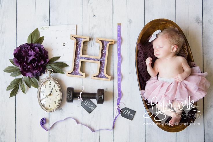 Newborn baby girl photo by Lightwork Photography, Statistics, height, length, weight, initial, letter, time, tape measure, clock, tutu, calender