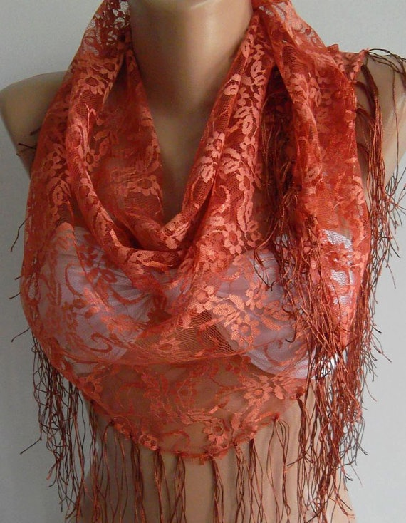 Copper Color  lace and Elegance Shawl / Scarf  with Lace by womann,