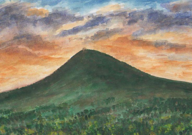 Milešovka po západu slunce, akvarel Jana Haasová