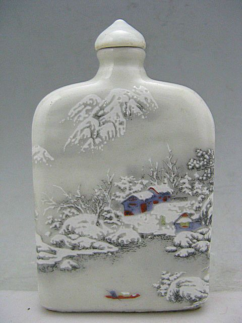 Wonderful Ge Kiln Porcelain Hand Painted Winter Snow Snuff Bottles