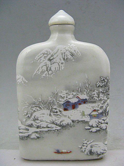 Wonderful Ge Kiln Porcelain Hand Painted Winter Snow Snuff Bottles