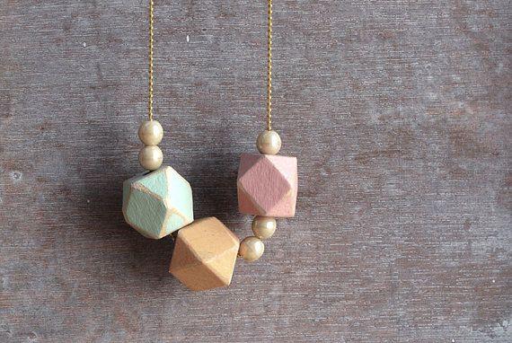 Geometric spring pastels Shabby / Minimal style jewelry // wood bead necklace. €17.90, via Etsy.