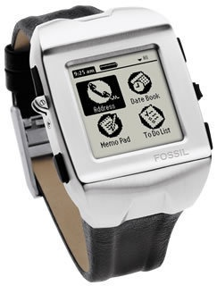Fossil Wrist PDA     Manufacturer -Fossil, Inc.  Series -Wrist PDA  Years of production - 2003  CPU -Motorola Dragonball Super VZ 66 MHz  Rom - 4 Mb  Ram - 8 Mb  Screen - 160x160 |16 level greyscale  Weighs -108g  Operating System -Palm OS 4.1.2