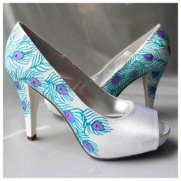 Pávás menyasszonyi cipő Peacock bridal shoes