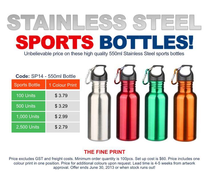 Great value 550ml Stainless Steel Sports Bottles.
