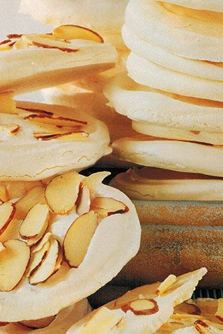 Almond Meringue Stacks to be served with Cream and Seasonal Fruit