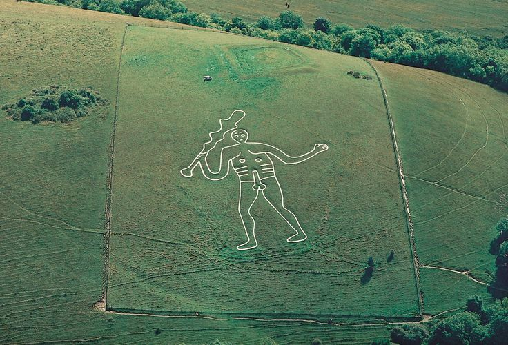 Ancient naked figure sculpted into the chalk hillside above Cerne Abbas    Standing at 180ft tall, this is Britain's largest chalk hill figure. It is also our most controversial.     Many theories surround the giant's identity. Is it an ancient symbol of spirituality? The Greco-Roman hero Hercules? Or a mockery of Oliver Cromwell? Local folklore has long held it to be an aid to fertility.
