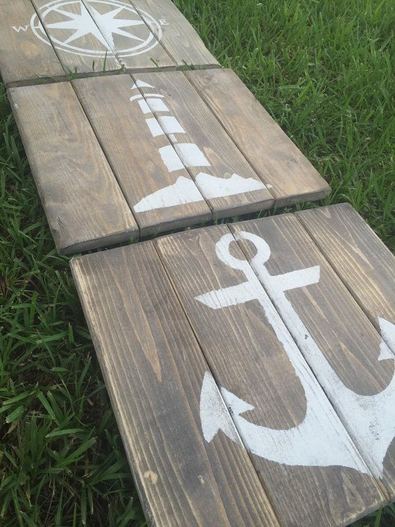 Hey, I found this really awesome Etsy listing at https://www.etsy.com/listing/152175361/rustic-nautical-art-set-of-3