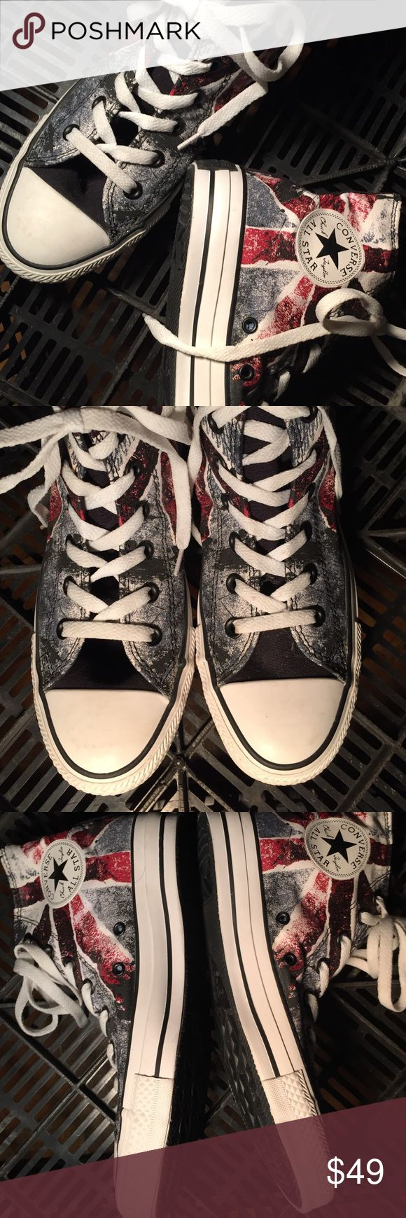 NWOT Chuck Taylor Converse All star high Tops. Super cool. Not sure but looks like a British flag   In black , gray & Red. Brand new. Never worn. Perfect condition. Very unique design. Totally hip!! Chuck Taylor Converse All Stars Shoes Sneakers
