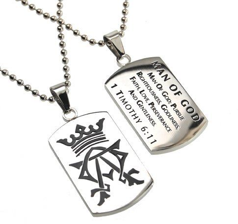 """Christian Mens Stainless Steel Abstinence """"Man of God- Man of God: Pursue Righteousness, Godliness, Faith, Love, Perseverance and Gentleness - 1 Timothy 6:11"""" Alpha & Omega Dog Tag Necklace for Boys - Guys Purity Necklace - 24"""" Ball Chain Spirit & Truth. $28.95"""