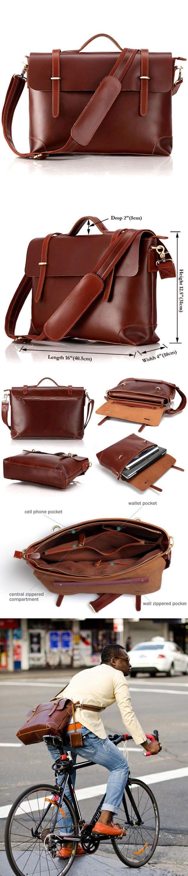 15″ Men's business messenger bag/leather handbag/leather shoulder bag/crossbody…