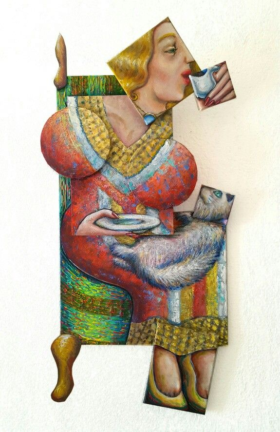 #Blonde coffee lady #Maja -Acryl on canvas -Irregular format #Erika Stanley