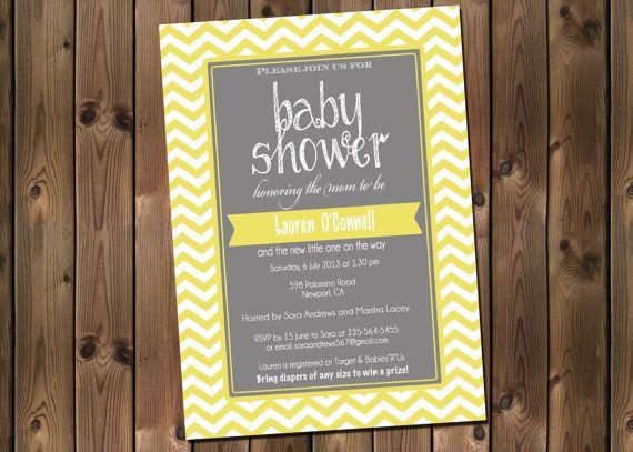 Yellow and Gray Baby Shower Chevron Invitation, Digital File,  PRINTABLE