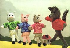 The Wolf and the Three Little Pigs (13inches tall) - Free Amigurumi Pattern here: http://melodiesplus.com/Christmas/wolfpigs.html