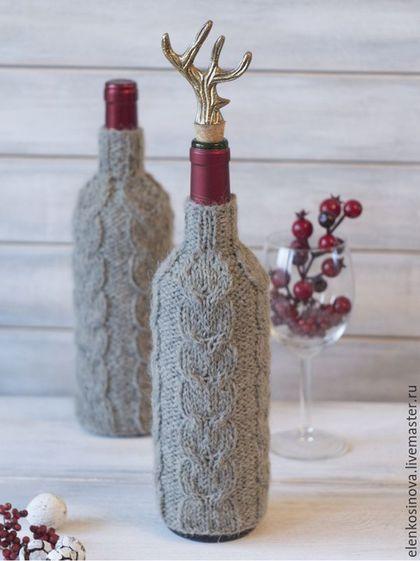 Новогодний подарок, новый год, свитер на бутылку, свитерок на бутылку, свитер с косами, рога оленя, свтер с оленями, олень, теплый подарок