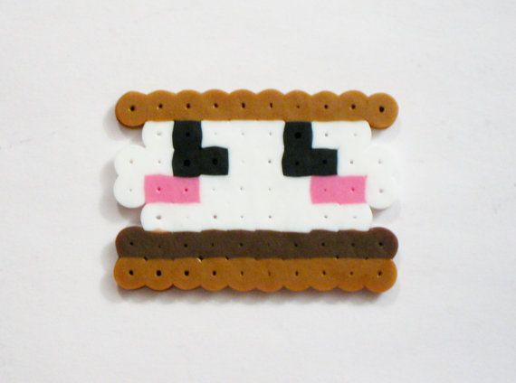 MARSHMALLOW S'MORE // Kawaii Camping Campfire Food Dessert Perler Beads // Magnet Keychain Pin Necklace Hair Clip (pick your FINISH) by RainbowMoonShop