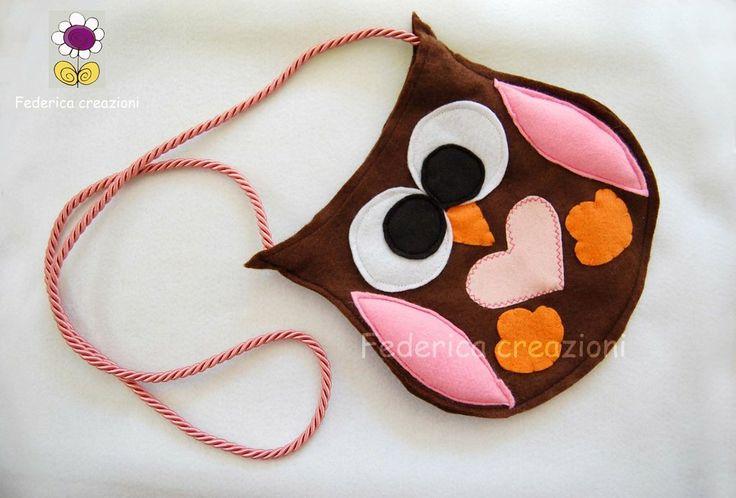 Borsetta gufo, feltro, handmade in italy, by federica creazioni, 22,00 € su misshobby.com