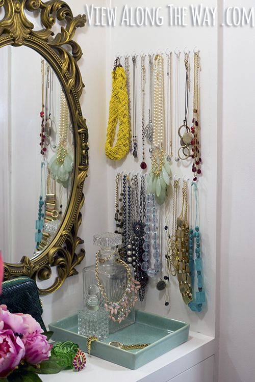 74 best jewellery storage ideas images on pinterest jewellery love the thick yellow necklace love these easy closet ideas you can steal for your home solutioingenieria Choice Image
