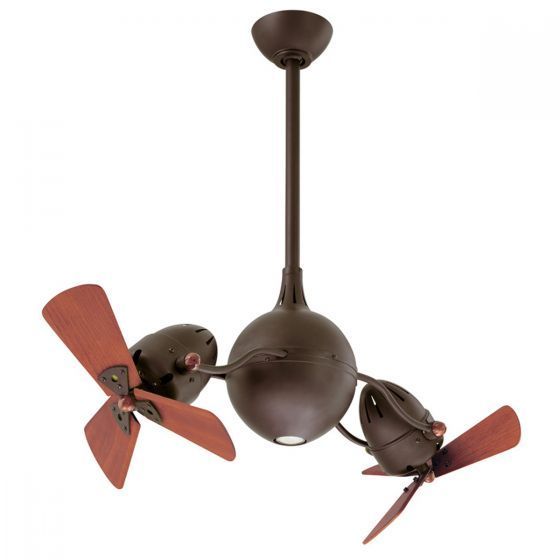 Atlas Acqua Two Head Ceiling Fan - Wooden Blades