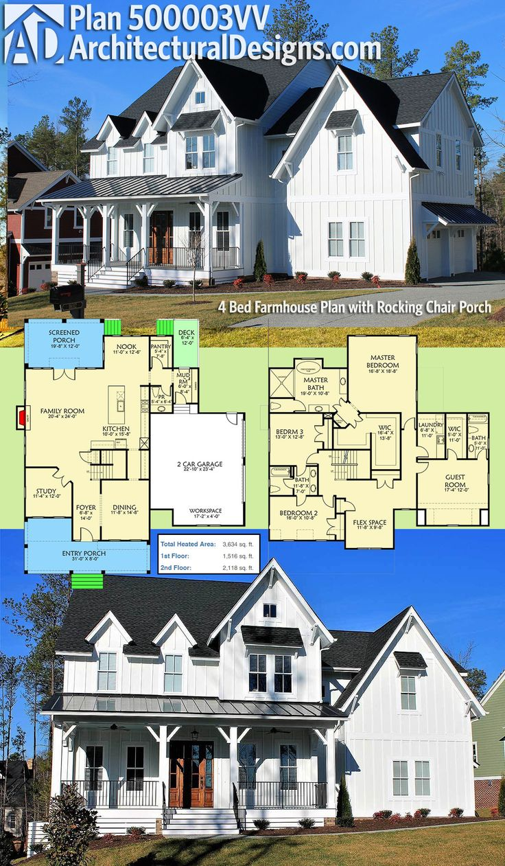 Plan 500003VV 4 Bed Farmhouse Plan with
