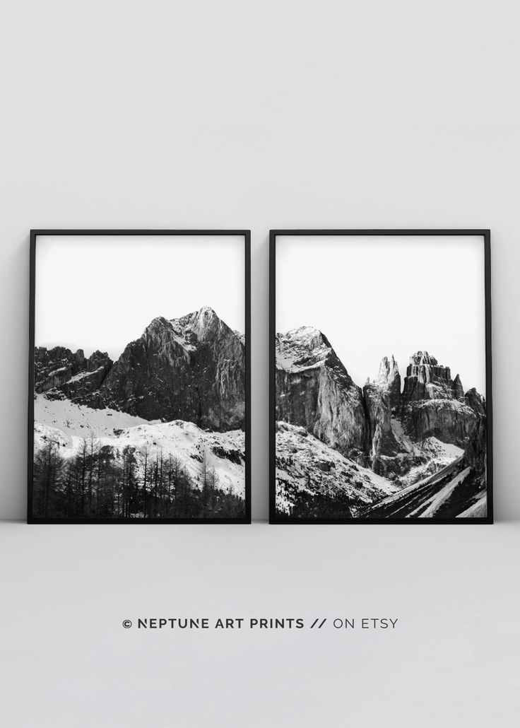 Minimalist Art, Mountain Print, Modern Art Print, Nordic Art, Printable Art, Black and White Photography, Nature, Monochrome, Mountain Range    Printable art is an easy and affordable way to personalize your home or office. You can print from home, your l