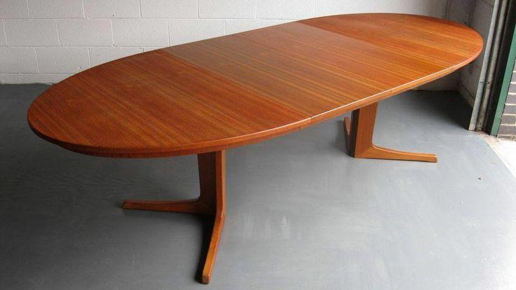 Rare 60's Danish Teak Oval extending Dining Table (Danish